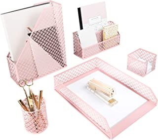 Blu Monaco Office Supplies Pink Desk Accessories for Women-5 Piece Desk Organizer Set-Mail Sorter, Sticky Note Holder, Pen...
