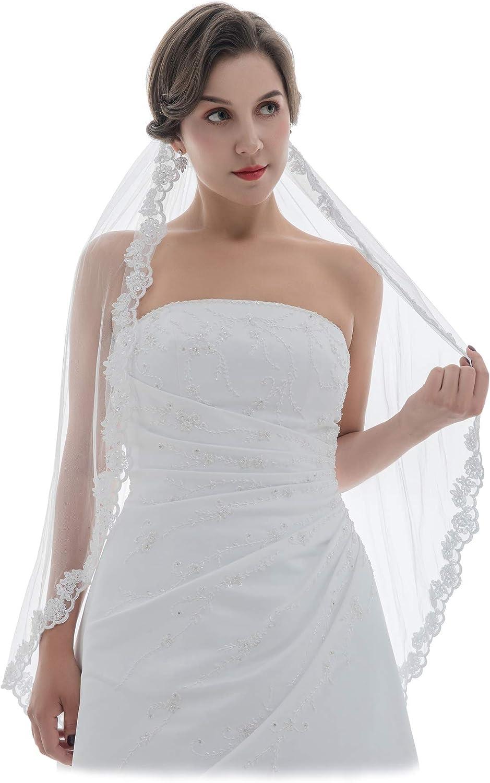 Fingertip Pearl Beaded Edge Wedding Veil wSilver Accents Pearl Bridal Veils Beaded Veil with Pearls