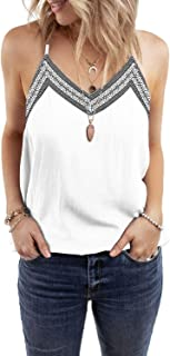 Women's V Neck Strappy Embroidery Tank Tops Loose Casual Sleeveless Shirts Blouses