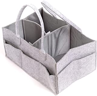 Skyla Homes - Felt Diaper Caddy Storage Organizer, Size-Changeable Waterproof Compartments, Best for Baby Registry Or Show...