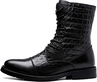 Best-choise Motocycle Combat Boots for Men Round Cap Toe High Top Lace Up Block Heel Patchwork Crocodile Embossed Rubber S...
