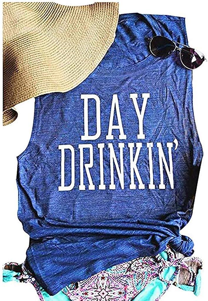 HimTak Fashion Women's Day Drinkin Letter Vest Summer Trend Casual Wild Shirt Sleeveless T-Shirt