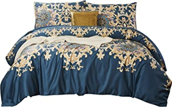 Softta Luxury European FloralBeddingDamask Full 3 Pcs Blue and Gold Bedding Collections Royal Style Duvet Covers Boho 100% Egyptian Cotton 1000 Thread Count Hypoallergenic