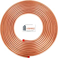 Visiaro Soft Copper Pipe/Tube Pancake Coil, Outer Diameter - 1/4 inch and Wall Thickness - 25 guage, Pack of 1 pcs