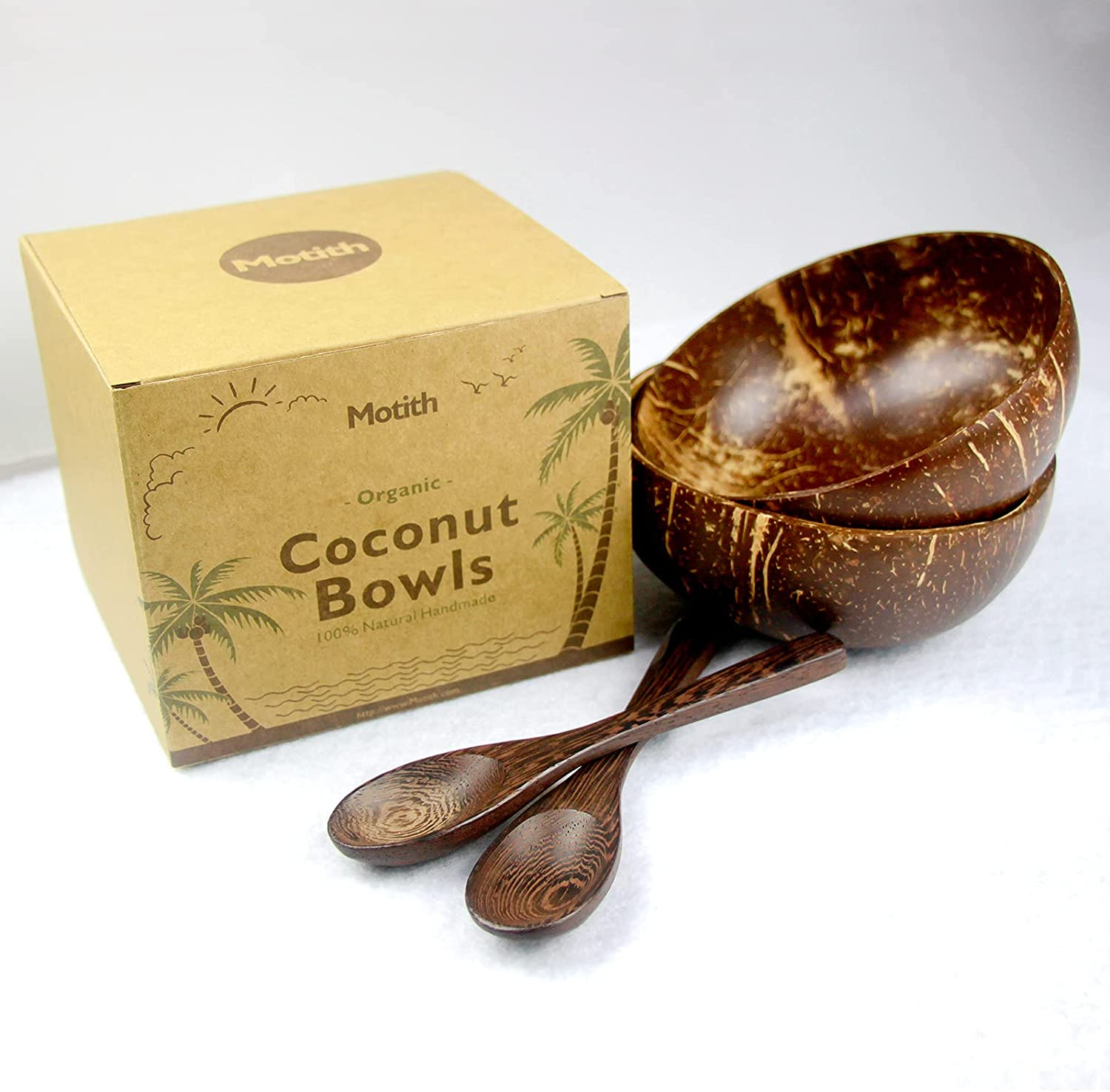 Motith Coconut shell Bowl with Wooden dinnerware spoon 2 Weekly update sets of Safety and trust