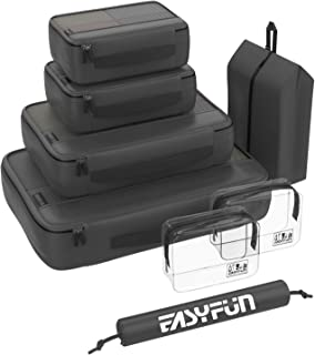 8 Set Packing Cubes for Travel Accessories Compression Luggage Suitcase Organizers with 2 Clear Toiletry bags and 2 Shoe Bags (Black)