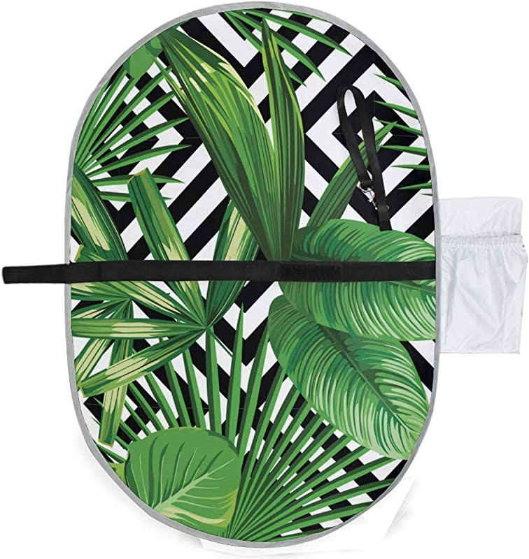 Waterproof Washable Baby Diaper Changing Pad Mat Palm Leaves Black White Geometric Portable And Foldable Infant Large Nappy Mat 27x20 Inch