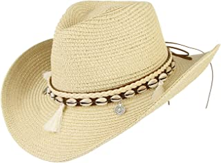 DEMU Women's Summer Straw Cowboy Cowgirl Hat Sun Hats Wide Brim Beach Holiday Straw Hat with Shell Band