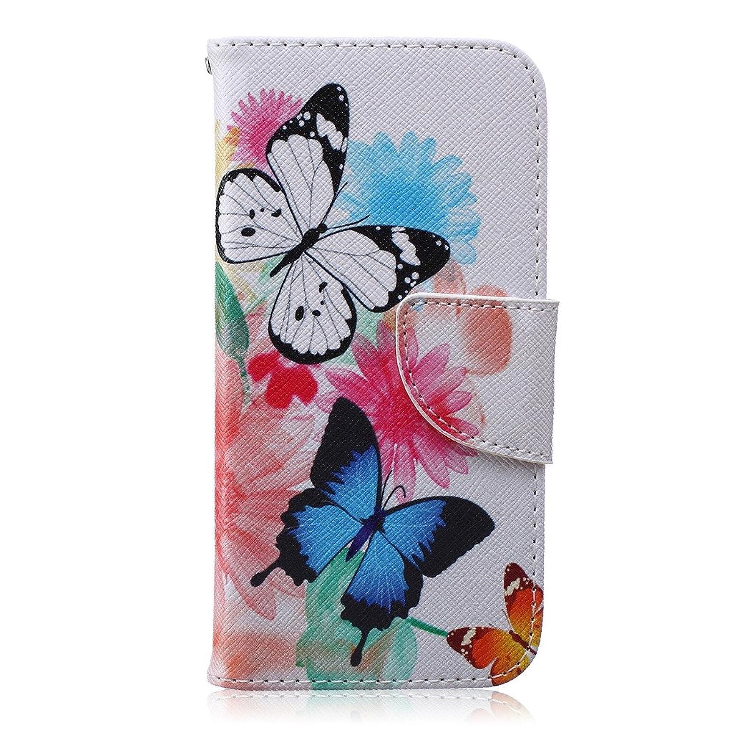 一貫性のない彼女は酸iphone 6 6S Wallet カバー ケース, Ougger(TM) Floral Butterfly 手帳型保護 [絵画シリーズ] ユニークパース PU レザーカード 収納 ポケット スロット スタンド カバー ケース