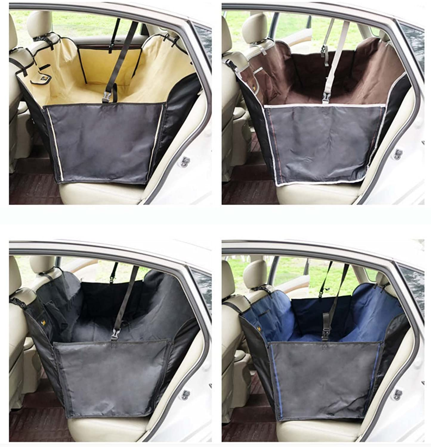 Travel Dog Seat Covers with Extra Side Flaps, Dog Car Seat Cover Back Seat Cover with Car Safety Seat Belt Waterproof Nonslip and Hammock Congreenible Universal (color   Black)