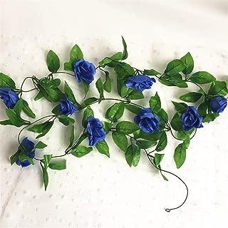 HY 8 Feet Pack of 2PCS Artificial Fake Silk Rose Flower Ivy Vine Hanging Wedding Décor Party Home Garden Supermarket Decoration 8 Colors (Blue)