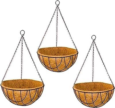 Sparkenzy Coir Hanging Basket | 8 inch | 3 Piece | Rust Resistant | Thick Finest Coir Fiber