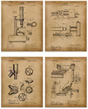 Microscope Patent Art Prints - Set of 4 Vintage Unframed 8x10 - Ideal Gift for Scientist