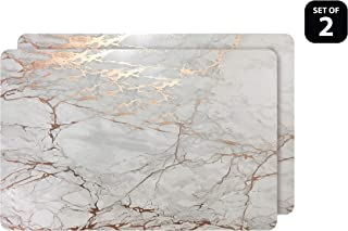 Dainty Home Foiled Marble Granite Thick Cork Heat Resistant Dining Table Placemats Set of 2, 12
