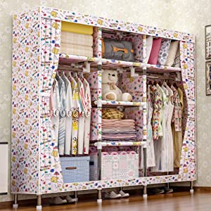 LUCKyou  Cloth Wardrobe Super Durable Style Simple Portable Locker Closet Organizer Bag Style Easy Assemble Bedroom Furniture Steel Tube Reinforcement 003