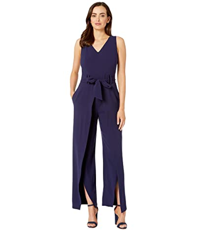 Tahari by ASL Sleeveless Crepe V-Neck Jumpsuit w/ Split Leg (Navy) Women