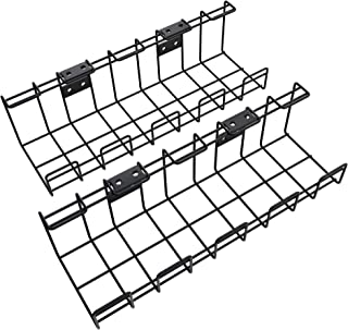 KD Essentials – Metal Cable Basket, Twin Pack – Cable Bracket and Tray (Under Desk or Wall mounting, with Screw Thread, Ti...