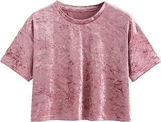 Women's Short Sleeve Casual Loose Tshirt Velvet Crop Tee Top
