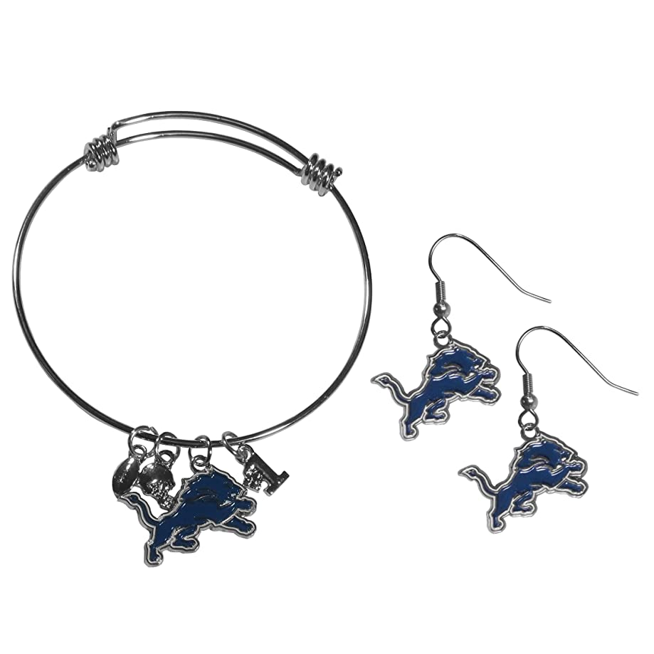 Siskiyou NFL Womens Dangle Earrings and Charm Bangle Bracelet Set