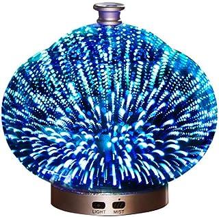 3Dガラス100ミリリットルギャラクシープレミアム超音波加湿器で素晴らしいledライト付き、自宅用ヨガオフィススパ寝室ベビールーム (Color : Brass)