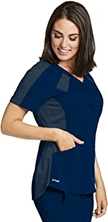 Grey's Anatomy Spandex-Stretch 3-Pocket Color Block V-Neck Scrub Top for Women