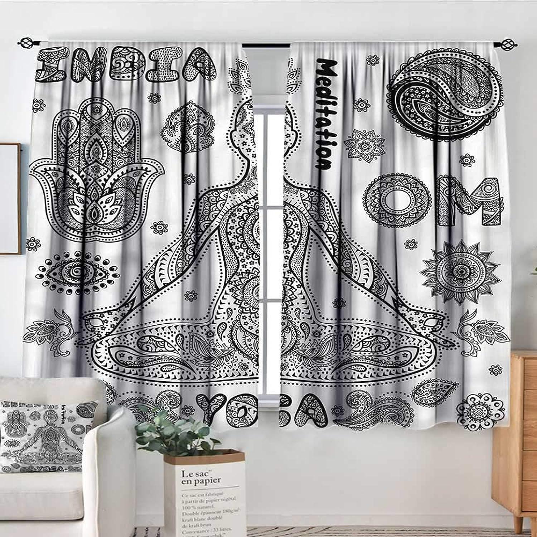 Familytaste Yoga,Bocking Ight Rod Curtains Ornate Hamsa Hand 42 X54  for Baby Bedroom
