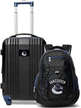"""Denco Vancouver Canucks 2-Piece Luggage Set, Includes 21-inch Two-Tone Hardcase Spinner and 19"""" Laptop Backpack"""