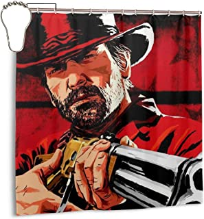 Red Dead Redemption 2 Shower Curtain Arthur Morgan Rockstar Games Waterproof Bath Shower Curtain for Bathroom Decor with Hooks 72X 72 Inch,Iron