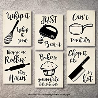 Home Decor Funny Gift 6 Kitchen Wall Art Prints Kitchenware with Sayings Unframed..