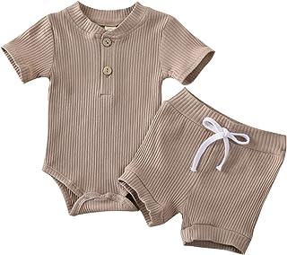 الرضع طفل رضيع الفتيات 2 قطع السروال القصير سروال الصيف كيد قصيرة الأكمام ارتداءها الوليد الصلبة قطعة واحدة (Color : Brow...