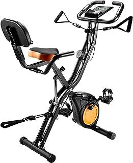 OMORC フィットネスバイク エアロバイク 折りたたみ式 静音マグネット式 [背もたれ メーター トレー エクササイズバンド付き] 有酸素運動 心拍数 消費カロリー測定 10段階負荷調節 日本語説明書