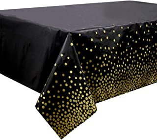 4 Pack Black Disposable Plastic Tablecloths 54x108 Inch Rectangle Table Cover with Gold Dot Confetti for Graduation, Birth...