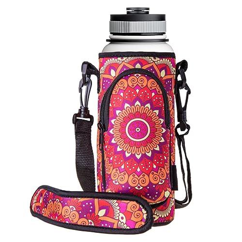 RoryTory Neoprene Water Bottle Sleeve Carrier Holder with Shoulder Strap e2e6290ca0a95