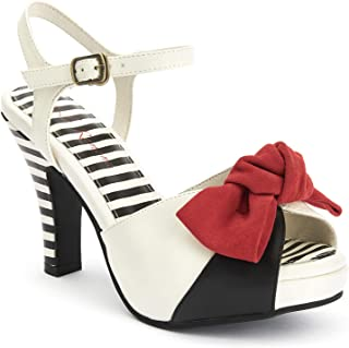 Lola Ramona: Angie Tribute - Leather Black and Cream Women's Plateau Sandal with red Bow and Stripes