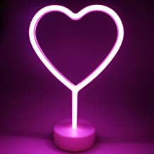 XIYUNTE Heart Lights LED Neon Signs - Heart Neon Lights Room Decor, Battery Powered Night Lights with Pedestal, Pink Signs Light up Children's Room,Bedroom,Widding,Party,Christmas