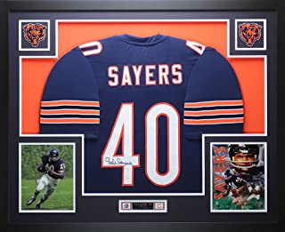 Gale Sayers Autographed Blue Chicago Bears Jersey - Beautifully Matted and Framed - Hand Signed By Gale Sayers and Certified Authentic by JSA - Includes Certificate of Authenticity