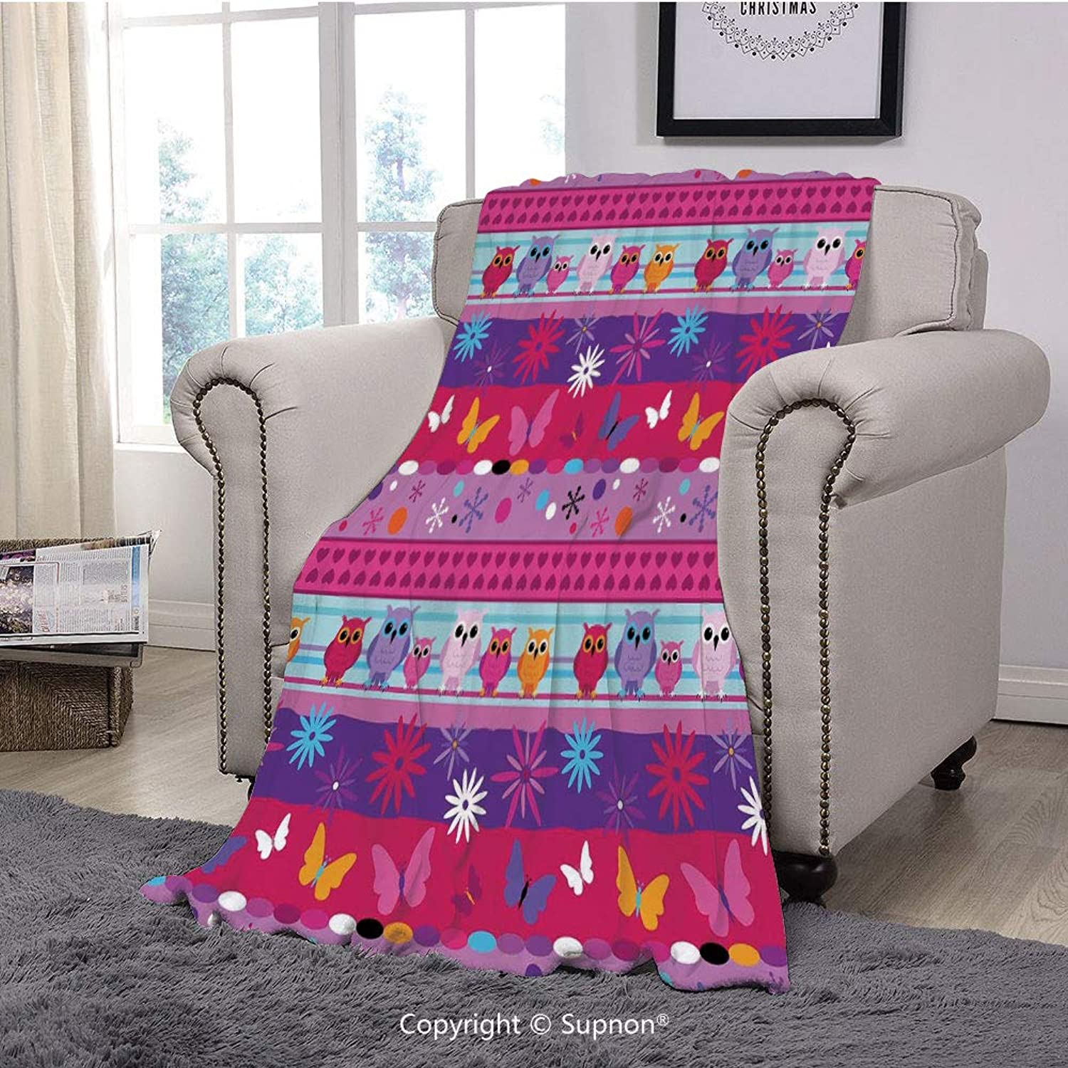 BeeMeng Throw Blanket Super Soft Fuzzy Light Blanket,Kids,Striped Cute Cartoon Style Pattern with Owls Flowers Butterflies Hearts and Snowflakes,Multicolor(51  x 51 )