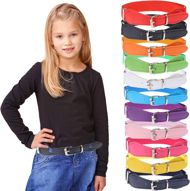 12 Pieces Kids Belt Adjustable Elastic Fashion Belt with Pin...