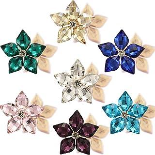 Jyukan Rhinestone Flower Buttons Embellishments Flatback Crystal Rhinestone for Clothing/DIY Crafts,7pcs,Lemon