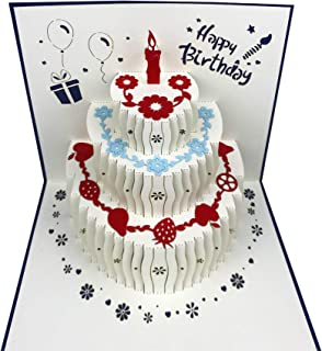 3D Pop Up Birthday Cards,Birthday Pop Up Greeting Cards Laser Cut Happy Birthday Cards Including Envelopes and Glues Best ...