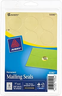 Avery Printable Mailing Seals, Gold Metallic, 1-Inch Round, Pack of 240 (5590)