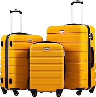 چمدان COOLIFE 3 قطعه چمدان Spinner Hardshell Lightweight TSA Lock 4 Piece Set