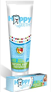 Happy Teeth Natural Baby and Toddler Toothpaste, Fluoride Free and Sulfate Free, Pear Apple Flavor, No Preservatives, Safe...
