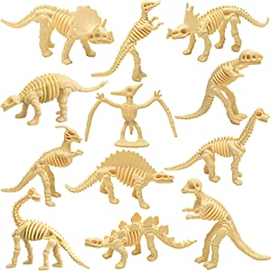 CENGOY Dinosaur Fossil Skeleton 12PCS Assorted Figures Dino Bones for Science Play, Dino Sand Dig, Decorations, Dinosaur Themed Birthday Party
