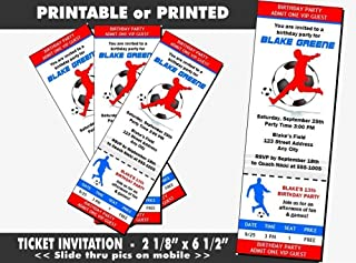 Soccer Birthday Party Ticket Invitation, Printable or Printed Option