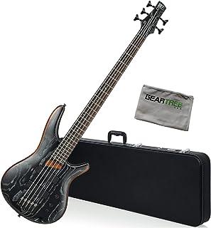 $699 Get Ibanez SR675 SKF 5-String Silver Wave Black Bass Guitar Bundle w/Case