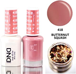 Daisy DND Neutrals Soak Off GEL POLISH DUO, All In One Gel Lacquer + Matching Nail Polish Color for Nails (with bonus side Glitter) Made in USA (Butternut Squash (418))