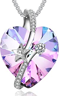 PLATO H Shooting Star Heart Crystal Necklace Eternal Love Heart Star Necklace Woman Gifts Necklace Love Heart Pendant Necklace, Ocean Blue/Classic Purple