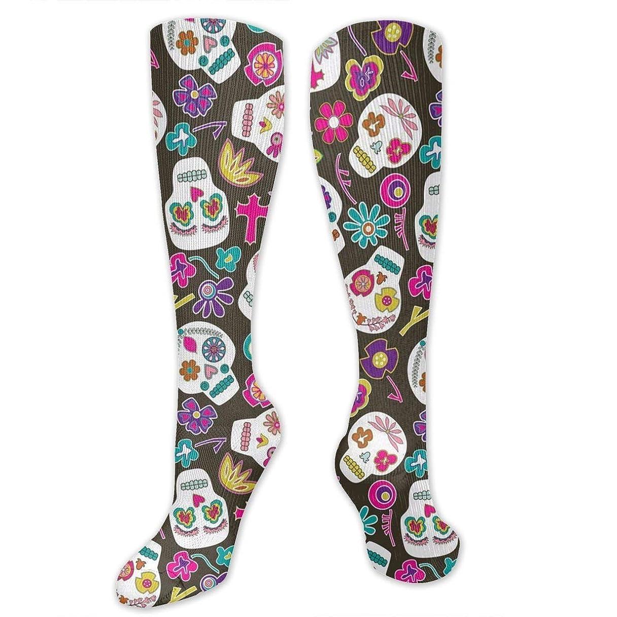 ナイロン批判上昇靴下,ストッキング,野生のジョーカー,実際,秋の本質,冬必須,サマーウェア&RBXAA Sugar Skulls Socks Women's Winter Cotton Long Tube Socks Knee High Graduated Compression Socks