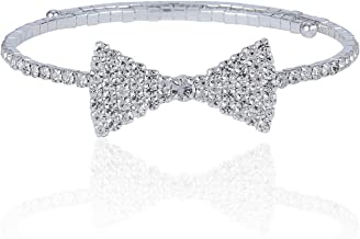 Janefashions Bow Tie Clear White Austrian Rhinestone Crystal Necklace Choker Party Gold Tone Silver Tone B1626